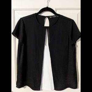 Zara- black and white blouse size Small